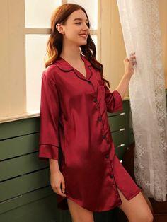 Contrast Binding Satin Shirt Dress | SHEIN USA Night Suit, Night Gown, Dress P, Shirt Dress, Blouse, Satin Shirt, Contrast, Burgundy, Tunic Tops