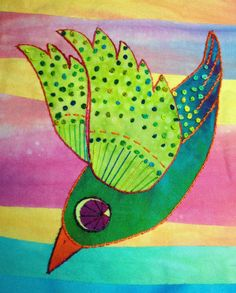 Detail from Birdland by Laura Wasilowski Iron On Applique, Wool Applique, Post Card, Needle And Thread, Felt Crafts, Felting, Wool Felt, Hand Embroidery, Quilt Patterns
