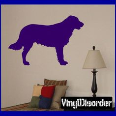 Apply this sticker to your car, truck, boat or anywhere you want. Flat Coated Retriever, Retriever Dog, Car Decals, Vinyl Wall Decals, Sticker, Dog Crate Furniture, Dog Rooms, Nursery Room, Dinosaur Stuffed Animal
