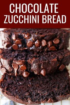 Double Chocolate Chip Zucchini Bread. Moist chocolate zucchini bread with chocolate chips. You won't be able to taste the zucchini! #chocolatezucchinibread #chocolatebread #chocolatechipzucchinibread #zucchinibread #doublechocolatebread