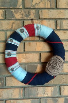 Upcycled Nautical Inspired Wreath - love the worn fabric and bold color