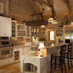 White kitchen in log home...love