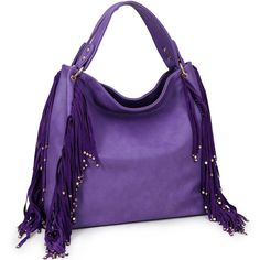 Faux leather slouchy hobo bag with faux suede fringe along the sides finished with gold-tone studs