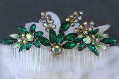 emerald hair accessories | Bridal Hair Accessories,Hair Combs,Emerald Hair Combs,Green Hair Combs ...