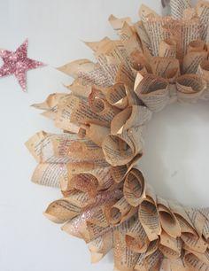 Book Page Wreath - love book art