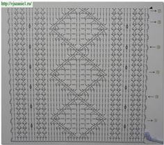 Lovely cabled stitch pattern chart ~ I've pinned the sample also! Crochet Edging Patterns, Granny Square Crochet Pattern, Crochet Borders, Crochet Diagram, Square Patterns, Crochet Stitches Patterns, Crochet Chart, Filet Crochet, Stitch Patterns