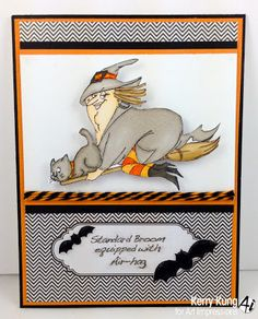 Air-Hag set (SKU# 4309) Art Impressions Halloween witch card with bats and black cat