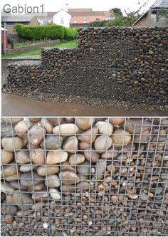 wave effect by using small pebble in the gabion wall http://www.gabion1.co.uk