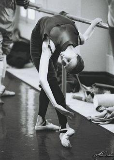 Ballet barre stretch.