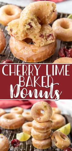 Hot, fresh breakfast treats are possible with these super simple Cherry Lime Baked Donuts - they're ready to eat in about 30 minutes! Skip the deep fryer and opt for the oven for these cherry-vanilla flavored cake donuts, then cover them in an irresistibly sweet-tart cherry lime glaze. #crumbykitchen #doughnut #donuts #recipe #homemade #breakfast #recipes #cherrylime #cherry #lime #glazed #cakedonut #video #sponsored