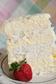 Angel food cake layered with lemon cream filling!