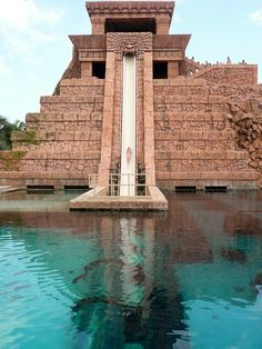 This is one of the water slides in Atlantis Bahamas, it goes down into a tube through a pool of sharks.