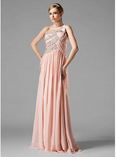 Vestidos princesa/ Formato A Um ombro Chá comprimento Chiffon Vestido de baile com Pregueado Perolização Lantejoulas (018004824) - JJsHouse