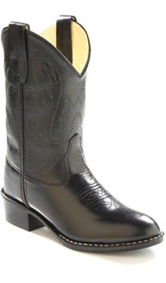 b8b4da324 Old West Kids Western Boots Black Corona Calf Leather Item OW-1110