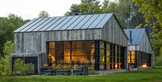 Modern Barn Style Home in Vermont by Birdseye Design Modern Barn House, Modern House Design, Contemporary Design, Contemporary Cabin, Modern Cabins, Timber Cladding, Lofts, Exterior Design, Modern Exterior