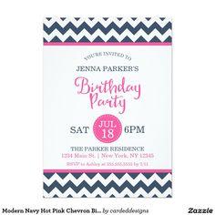 Modern Navy Hot Pink Chevron Birthday Party 5x7 Paper Invitation Card