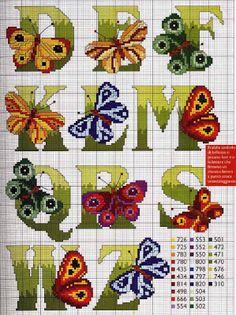 Cross Stitch Mania: Free Butterfly Alphabet Cross Stitch Chart 2