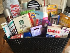 The perfect gift for grads! A college survival kit complete with a monogrammed towel wrap. Gift Baskets
