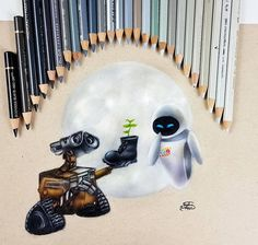 Wall E Eve, Polychromos, Faber Castell, Prismacolor, Colored Pencils, Disney, Instagram Wall, My Arts, Video Link