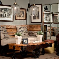 Palette furniture, Hessian / Burlap cushions Finishing touches of flowers and sparkly lights soften the edges