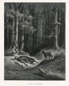 Le loup et le chasseur - fable de Jean de La Fontaine illustrée par Gustave Doré - MAS Estampes Anciennes - MAS Antique Prints