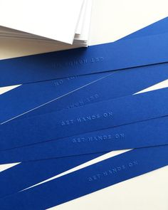 Embossed belly bands in electric blue. #handsoneveryday