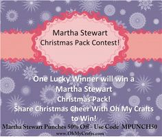 Martha Stewart Christmas Pack Contest!  One lucky winner will win a Martha Stewart Christmas Pack!  To enter: Repin this Contest Pin and fill in the missing Christmas jingle word on each pin on this board.  For additional ways to enter, visit our blog. http://ohmycrafts.blogspot.com/2012/12/martha-stewart-christmas-pack-contest.html