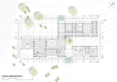 Image 33 of 34 from gallery of Las Escaleras Country House / Prado Arquitectos. Architectural Plants, Architectural Floor Plans, Architectural Presentation, Large Floor Plans, House Floor Plans, Drawing House Plans, Hospital Plans, L Shaped House, One Level Homes