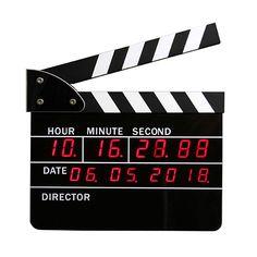 Film Director Board Design Alarm Clock with Calendar . OMG, take my money! Unusual Clocks, Cool Clocks, Deadpool, 24 Hour Clock, Led Alarm Clock, Clock Display, Film Director, Director Board, Digital Alarm Clock