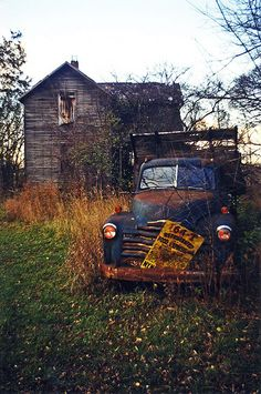 abandoned...be cool to refurbish this into an awesome cabin, oh the truck too.
