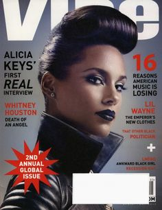 On the cover of Vibe Magazine's April/May 2012 issue, Alicia Keys pompadour hairstyle is keeping the retro look alive. Alicia Keys usually keeps her hair semi-classy with a sexy edge. Alicia Keys, The Cosby Show, Saint Michael, Aaliyah, Rihanna, Awkward Black Girl, Jill Greenberg, Vibe Magazine, Magazine Design