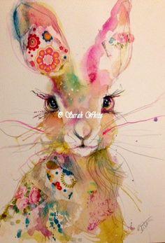 Pretty Hare Original by ArtbySarahWhite on Etsy