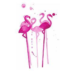 Flamingo Stirrers Watercolor Print #home-decor-art #home-decor-bar