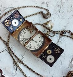Steampunk Victorian Antique Bronze Locket Pop Up Book Clock Prints Key Clock Gears Bow and Arrow Flower Jewelry Necklace by DreamAddict on Etsy