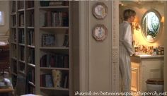 I like this bookshelf from the movie, You've Got Mail. If you did this the room behind it could have some very interesting angles.