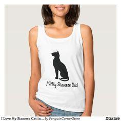 I Love My Siamese Cat in Silhouette