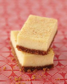 """Brandy-eggnog cheesecake bars - """"I just love that flavor."""" She worked the holiday drink into cheesecake bars, dense on the bottom, silken on top. She spikes them with brandy for a grown-up taste and dusts them with fresh nutmeg. Eggnog Cheesecake, Cheesecake Bars, Classic Cheesecake, Cheesecake Recipes, Dessert Crepes, Dessert Bars, Dessert Buffet, Dessert Food, Yummy Treats"""