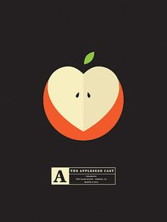 Excellent use of typographic form is used here. The use of the cut apple as a heart as well demonstrates good design versatility.  However, the background is bland and does not catch the eye of the consumer.