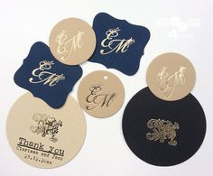 24 Gold Foil Personalized tag_ Monogram Tags_ Highly Customizable Tag by on Etsy Wedding Tags, Wedding Gifts, Thank You Tags, Personalized Tags, Wedding Stationary, Christmas Tag, Gold Foil, Letterpress, Monogram
