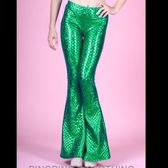 Green shiny scales Ariel mermaid stretch pants Worn once! Green stretchy bell bottom mermaid pants size XL in perfect condition. Great for Halloween or costume parties. *photo credit ping ping clothing Ping Ping Pants Boot Cut & Flare