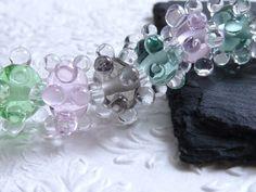 Set of eight wonderful bubble beads ::: italian glass ::: pastel