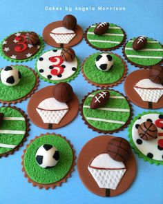 Sports cupcake toppers by Angela Morrison