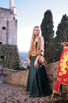 Medieval Renaissance fantasy boned Corset dress gown gold and green LANNISTER BANNER. $450.00, via Etsy.