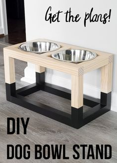 Love this! Easy DIY Dog bowl stand plans that are so easy to make! Plus it only costs $5! #AnikasDIYLife #woodworking