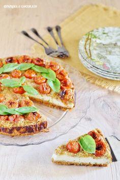 Ceesecake salata con ricotta e pomodorini - Paprika e Cioccolato Bruschetta, Cheesecakes, Ricotta, Ethnic Recipes, Food, Drinks, Mascarpone, Pies, Drinking