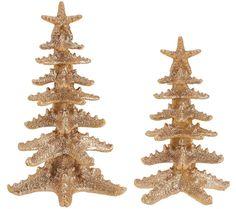 Set of 2 Glittered Starfish Trees by Valerie SAND Blown Glass Christmas Ornaments, Holiday Ornaments, Sea Glass Art, Sea Glass Jewelry, Coastal Christmas, Christmas Crafts, Valerie Parr Hill, Small Trees, Coastal Decor