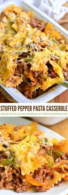 Pasta Casserole, Easy Casserole Recipes, Casserole Dishes, Pasta Recipes, Stuff Pepper Casserole, Paleo Pasta, Hamburger Casserole, Enchilada Recipes, Hamburger Recipes