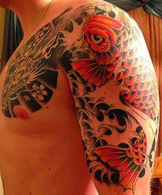 Koi 1/2 Sleeve, second session (colour), Phil Cisco, Maximum Tattoo-Deerfield, IL