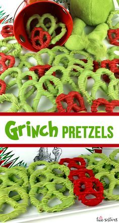 Grinch Heart Pretzels - You need pretzels and candy melts to make these sweet . - Grinch Heart Pretzels – You need pretzels and candy melts to make these sweet …, - Grinch Christmas Party, Grinch Party, Christmas Sweets, Christmas Cooking, Christmas Goodies, Christmas Candy, Christmas Time, Grinch Snack, Christmas Parties
