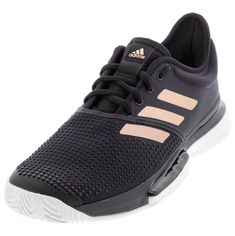 Find your pair at Tennis Express Shoe Lacing Techniques, Minimal Shoes, Types Of Shoes, Black Adidas, Adidas Women, Amazing Women, Black Shoes, Things That Bounce, Tennis